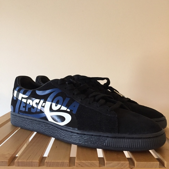 Puma Suede Classic X Pepsi Mens Black Low Top Sneakers Shoes 11.5